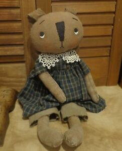 Primitive Sweet Brown Bunny Doll Old Lace Blue Dress