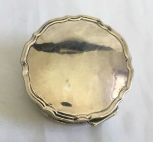 Antique Vintage Solid Sterling Silver Hallmarked Lided Trinket Box For Repair