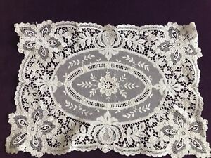 Antique Brussels Lace French Netting Floral Needlework Cream Ornate 18 X 13