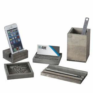 Vintage Gray Wood 5 piece Desk Set With Pen Tray Pencil Cup Memo Pad