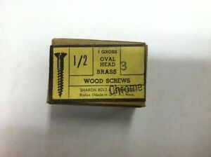 1 2 X 3 Oval Head Chrome Plated Brass Slotted Wood Screws 144 Per Box New