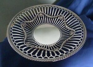 Antique English Sterling Silver Open Work Bowl By James Dixon Sons