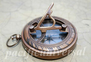 Brass Sundial Compass Vintage Reproduction Handmade Push Button Nautical Compass