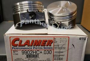 Set 8 Silvolite Kb Chevy 350 Hypereutectic Coated Flat Top Pistons 2vr 030