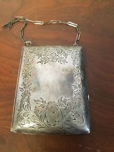 Sterling Silver Coin Purse Handbag Makeup Vtg Antique Estate Card Case 110 Grams