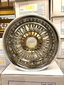 Set Of 4 New 13x7 72 Spoke Center Gold Reverse Knock Off Wire Wheels Lowrider
