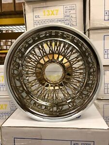 Set Of 4 New 13x7 72 Spoke Cross Lace Center Gold Knockoff Wire Wheels Lowrider