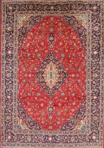 Beautiful Vintage Traditional Floral Persian Handmade Red Wool Area Rug 10 X14