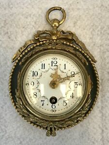 Antique 19th C French Bronze 5 Circular Gilt Bronze Wall Clock Appraised