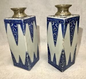 Pair Chinese Export Blue White Silver Mounted Vases 18th C Appraised