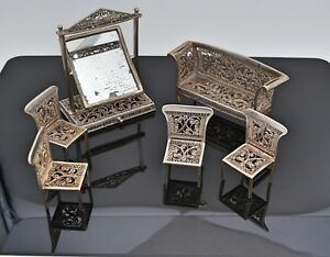 German Silver Filigree Miniature Furniture 6pc Chairs Couch Standing Mirror