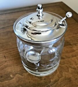 Redlich Co Jar Pot Sterling Silver Lid Spoon Etched Crystal Base
