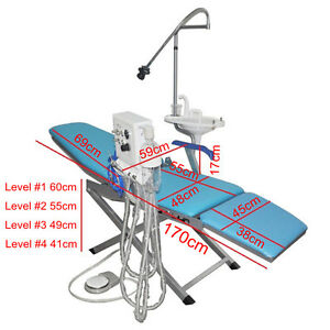 Portable Dental Folding Chair Luxury Type Rechargeable Led Light Equipment Blue