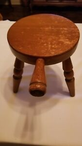 Antique Wooden Three Legged Milking Stool With Handle Farmhouse