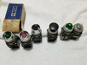 Lot 4 Ge Cr104e132 Miniature Illuminated Green Red W Guard Push Button Switch