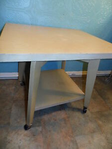 Mid Century Danish Modern Table With Rotating Spinning Top Tv Stand End Table