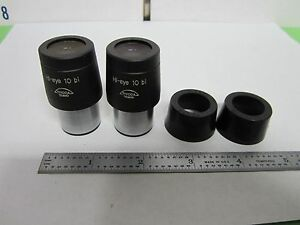 Microscope Part Pair Eyepieces Tiyoda Tokio Hi eye 10 Bi As Is Optics Bin r5 17