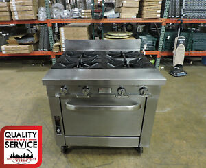 Southbend P36a xx Commercial 4 burner Range W Convection Oven