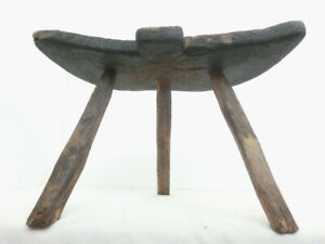 18thc Antique Primitive Wooden Three Legged Milking Stool Chair Tripod Low Table