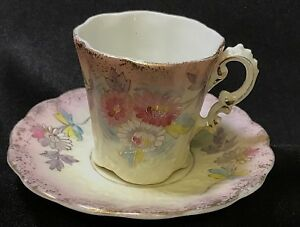 Antique Demitasse China Cup Saucer Hand Painted Nice
