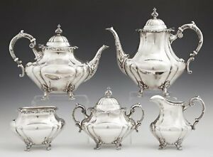 Antique Sterling Silver Reed Barton Coffee Tea Service