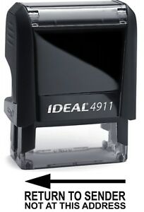 Return To Sender Text On Ideal 4911 Self inking Rubber Stamp With Black Ink