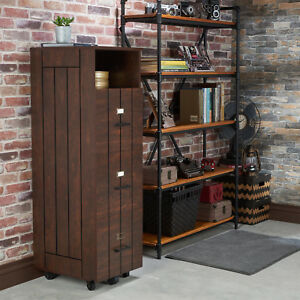 Open Top Shelf Rustic Slatted 3 drawer Mobile Vintage Walnut File Cabinet