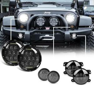 Led 7 Headlight 4 Fog Lights Turn Signal Lights For 07 16 Jeep Wrangler Jl