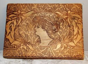 Vintage Pyrography Box Cameo Lady Pattern Flemish Art Folk Art Hankerchief Box