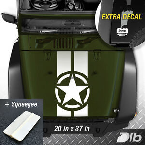 Jeep Wrangler Tj Lj Jk Star Military 2 Stripes Vinyl Hood Decal Sticker Truck