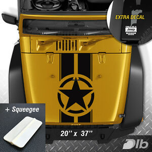 Jeep Wrangler Tj Lj Jk Star Military Stripes Vinyl Hood Decal Sticker Truck ext