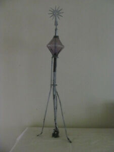 Antique Electra Lightning Rod W E Starburst Top And Purple Glass Ball