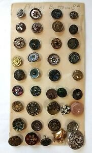 Antique Button Lot Collection Card Mop Steel Rhinestone Celluloid Victorian