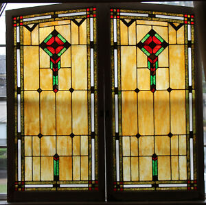 2 Large Antique Stained Glass Windows 61 X 30 Circa 1940 Funeral Home