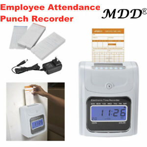 Employee Attendance Punch Time Clock Payroll Recorder Lcd Display With 100 Cards