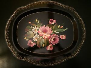 Vintage Tole Scalloped Hand Painted Large Tray Beautiful Rim Work