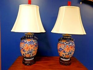 Pr 34 High End Chinese Porcelain Vase Lamps 9 Imperial Dragons Blue White Red