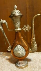 Vtg Antique Tibet Nepal Chaser Silver Over Copper Coffe Pat 13 Tall