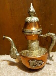 Vtg Antique Tibet Nepal Dragon Chaser Silver Over Copper Coffe Pat 9 5
