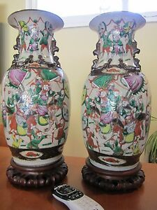2 19th C Chinese Porcelain Crackle Cracked Glaze Ware Famille Rose Big Vases