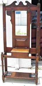Antique Arts Crafts Wood Walnut Entryway Hall Tree Stand Coat Rack Mirror