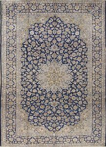 Persian Traditional Floral Keshan Blue Hand Knotted 10x14 Wool Oriental Area Rug