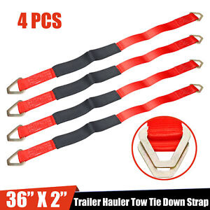 4x 36 Hd Axle Straps Race Car Hauler Tow Truck Wrecker Wheel Tie Down Strap