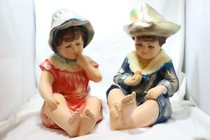 Large Pair Of Piano Babies Boy Girl Sitting Porcelain Figurines