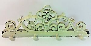 Wall Coathat Rack Vintage 4 Pins Carved Painted And Distressed 16 W X 6 H