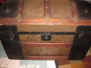 Antique Steamer Trunk Hammered Leaf Design Tin Covering Dome Top Trunk 34 Long
