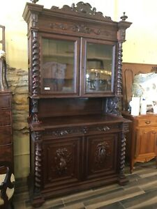 Vintage Antique French Hunt Hunter S Cabinet China Gun Carved Oak Black Forest G