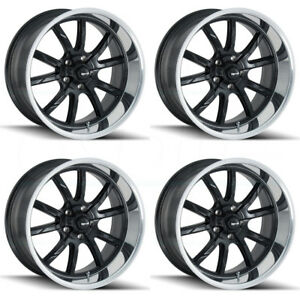 4 new 17 Ridler 650 Wheels 17x8 5x4 75 5x120 65 0 Matte Black Polished Lip Rims