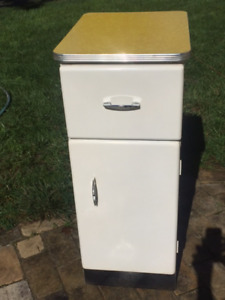 Vintage Mid Century Modern Metal Kitchen Cabinet W Yellow Formica Top