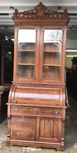 Victorian Walnut Cylinder Secretary Desk